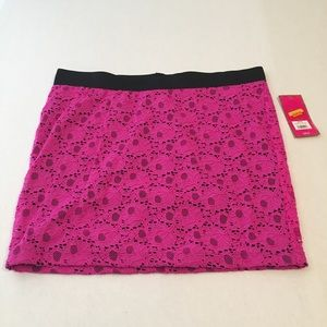 Candies Pink & Black Skirt NWT Size XL Lace